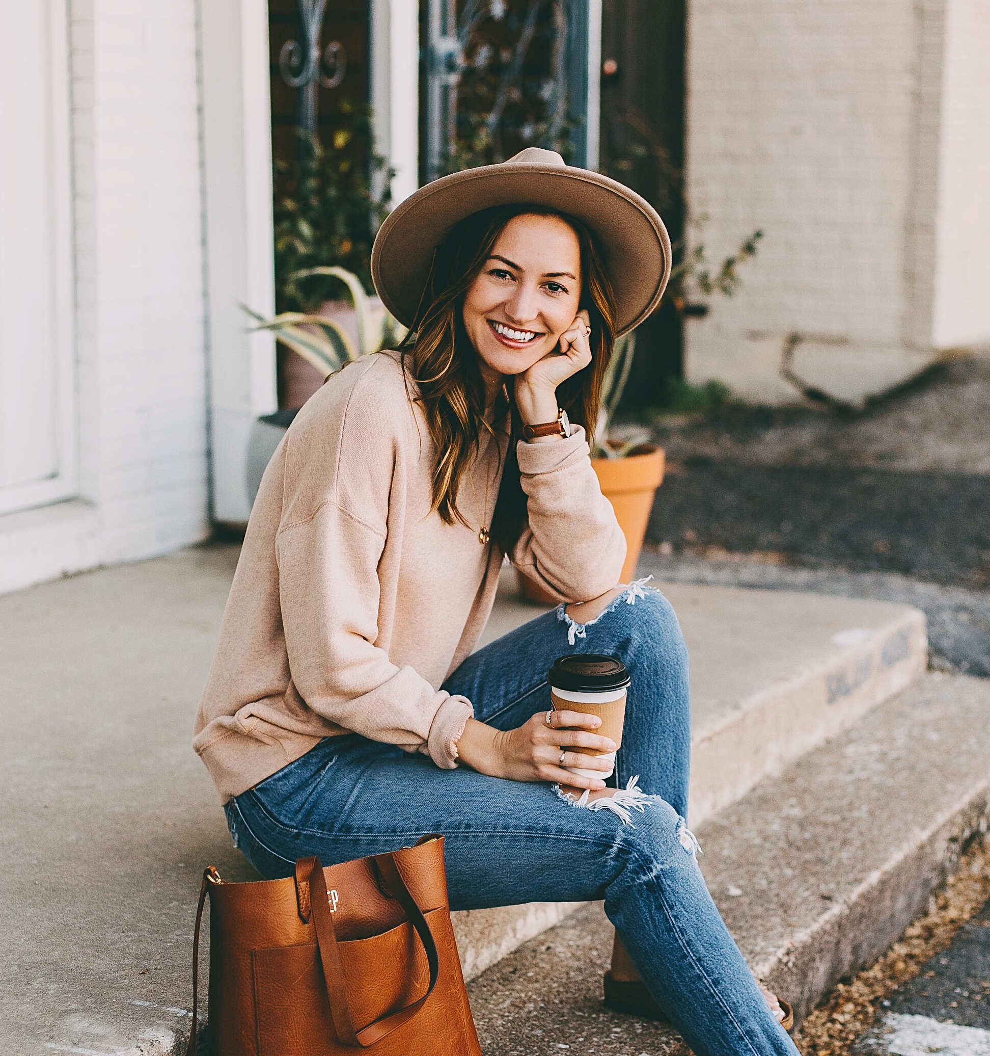 Cozy Fall Outfit: Oversized Cardigan & Distressed Denim - LivvyLand | Austin Fashion and Style Blogger