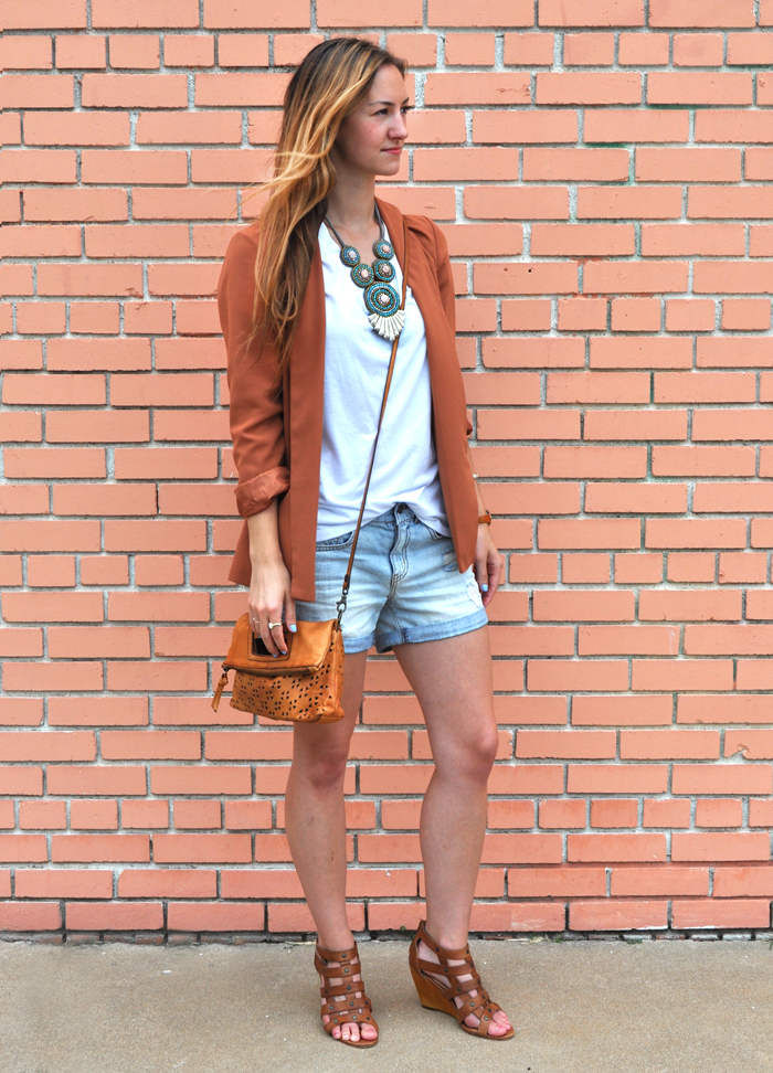 livvyland-blog-olivia-watson-fashion-blogger-austin-texas-colored-blazer-burnt-orange-boyfriend-shorts-panacea-bib-necklace-3