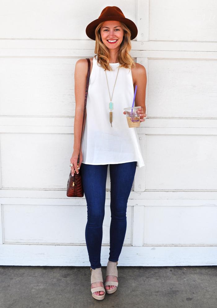 Split Back Tank Top Skinny Jeans Livvyland Austin Fashion Style Blog By Olivia Watson