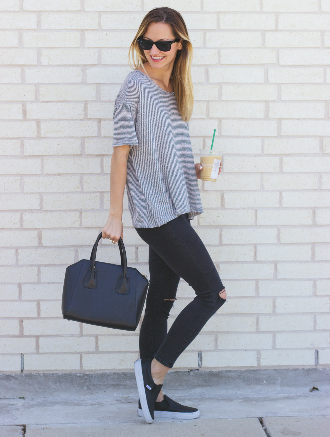 Casual Tee Slip On Sneakers Livvyland Austin Fashion And Style Blogger